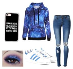 """""""Galaxy💙🌑✨"""" by prettylittlelizzy on Polyvore featuring WithChic, adidas Originals and Casetify"""