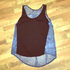 Tank top Black front with pocket, blue and black patterned sheer back. High low design tank. a.n.a Tops Tank Tops