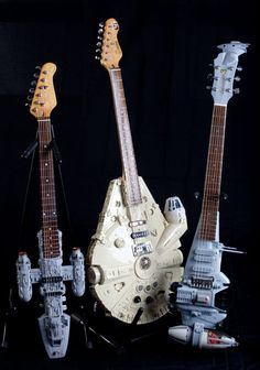 Tom Binghams Anakin Jedi Starfighter guitar, Millennium Falcon guitar and his B-wing fighter guitar.