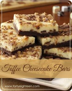 Toffee Cheesecake Bars are the perfect holiday treat... or any time. Because cheesecke. And toffee.