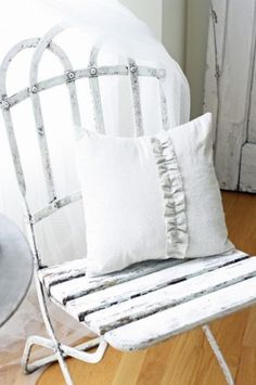 ♕ white pillow and bistro chair ~ French Larkspur