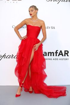 Elsa Hosk in Ermanno Scervino at the amfAR Cannes Gala 2018- HarpersBAZAAR.com