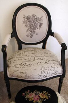 French script chair-I Love this. Will start looking for fabric for the day I want to tackle those chairs.