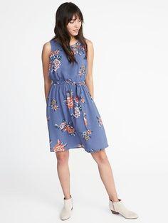 Tie-Waist Floral-Print Dress for Women