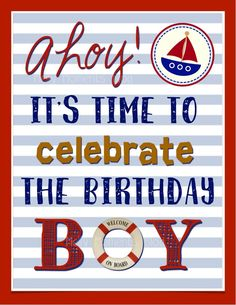 So, it's been a couple weeks since our vacation in Florida and I'm really missing the beach! Watching my boys play together in the sand, riding on the kayak for… Sailing Party, Sailing Theme, Sailor Birthday, Baby Boy 1st Birthday, 7th Birthday, Happy Birthday, Nautical Party, Birthday Party Themes, Birthday Ideas
