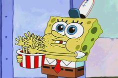 Spongebob listening to Squidward's story