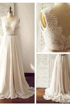 Charming V-neck Backless Long Chiffon Beach Sleevelss Lace Wedding Dresses
