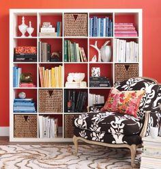 Style at Home Ikea bookcase styling via SAS Interiors Ikea Expedit Bookcase, Bookcases, Ikea Shelves, White Shelves, Ikea Storage, Kallax 5x5, Storage Baskets, White Bookshelves, Cube Shelves