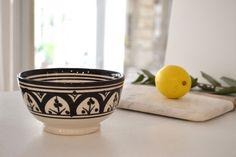 Bol céramique de Safi marocaine noir et blanc -www.oranjade.com