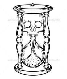 Decorative Antique Death Hourglass Illustration by. Decorative Antique Death Hourglass Illustration by vavavka Decorative antique death hourglass illustration with skull. Sketch for dotwork tattoo, hipster t-shirt desi Tattoo Outline Drawing, Outline Drawings, Tattoo Drawings, Tattoo Sketches, Sketch Tattoo Design, Tattoo Art, Skull Tattoo Design, Skull Tattoos, Body Art Tattoos