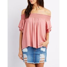 Charlotte Russe Smoked Ruffle-Trim Off-The-Shoulder Top ($22) ❤ liked on Polyvore featuring tops, blouses, mauve, off the shoulder tops, off shoulder ruffle blouse, short-sleeve blouse, red off the shoulder top and off-the-shoulder ruffle tops
