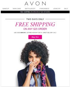 Avon Free Shipping on Any $25 Online Order - March 2015 - use Avon coupon code: MARCHFS at http://eseagren.avonrepresentative.com. Expires: midnight EST March 5, 2015. #avon #freeshipping #coupon #beauty #makeup