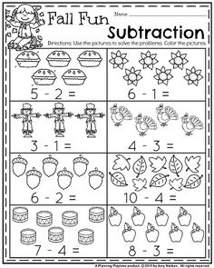 Fall Kindergarten Worksheets for November – Fall Fun Subtraction. Fall Kindergarten Worksheets for November – Fall Fun Subtraction. Kindergarten Math Worksheets, Preschool Math, Math Activities, Kids Worksheets, Fall Preschool, Handwriting Worksheets, Color Activities, Printable Worksheets, Subtraction Kindergarten