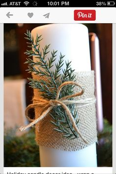 Holiday candle decor idea~ wrap a swatch of burlap around a candle with some nat.- Holiday candle decor idea~ wrap a swatch of burlap around a candle with some natural greenery or a holiday pick with a pinecone or berries. Great gift idea too! Noel Christmas, Rustic Christmas, All Things Christmas, Winter Christmas, Frugal Christmas, Simple Christmas, Christmas Wreaths, Modern Christmas, Homemade Christmas