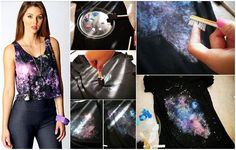 Galaxy print t-shirts are still trending this year. Besides being colorful and cool, they give an air of mystery to the outfit in general. With a few tools and some