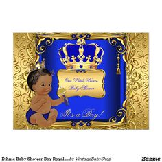 Ethnic Baby Shower Boy Royal Blue Gold 5x7 Paper Invitation Card