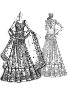Celebrity Bride: Ritu Kumar's Bridal Designs for Genelia D'Souza Dress Design Sketches, Fashion Design Sketchbook, Fashion Design Drawings, Fashion Sketches, Dress Illustration, Fashion Illustration Dresses, Fashion Illustrations, Indian Fashion, Fashion Art