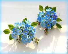 Незабудки (мини брошь, заколочка) - голубой,незабудки,полевые цветы,цветы ручной…