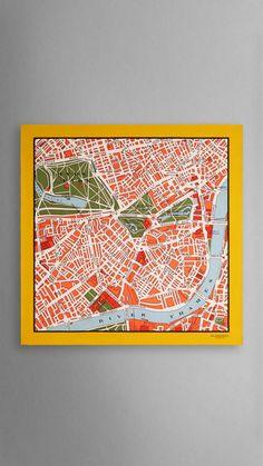 London Map Print Silk Square - Medium Bright Clementine Print | Burberry