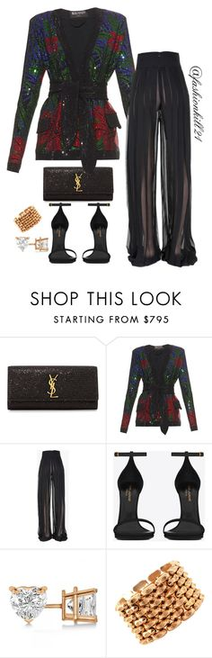 """""""Untitled #1166"""" by fashionkill21 ❤ liked on Polyvore featuring Yves Saint Laurent, Balmain, Allurez and Retrò"""