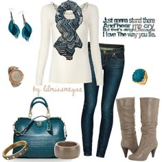 Teal & Taupe, created by lilmissmegan on Polyvore