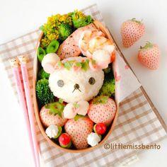Korilakkuma with Japanese white strawberry bento