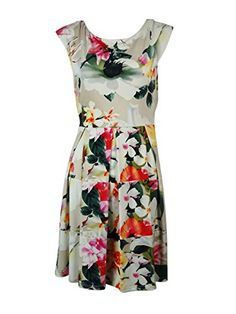Tiana B Women's Cap Sleeve Floral Fit and Flare Dress, Multi, 8 *** Check out this great product @ http://www.amazon.com/gp/product/B00I1EBX2Q/?tag=clothing8888-20&pab=260716171755