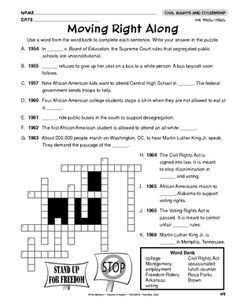 Civil Rights Crossword | Crossword, Civil rights and Worksheets