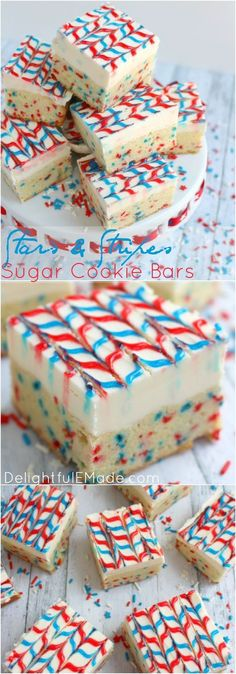 Lets celebrate America with these yummy, patriotic sugar cookie bars! The best sugar cookie recipe made into a bar, frosted with lots of delicious buttercream, and decorated with simple store-bought gel frosting, these cookie bars will be the hit of your Mini Desserts, 4th Of July Desserts, Fourth Of July Food, Holiday Desserts, Just Desserts, Delicious Desserts, July 4th, Patriotic Desserts, Patriotic Party