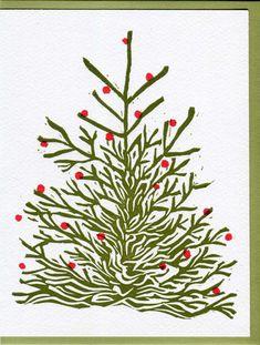 Holiday Tree Linocut Letterpress Greeting Card Set of Six