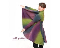Pattern plus size sweater Multiwear wool coat 3 in 1 by ToBeStudio
