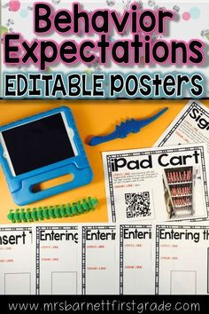 Teaching appropriate classroom behaviors and routines is difficult. Repeating yourself over and over re-teaching behaviors and routines is even more difficult! Creating these EDITABLE posters with your class will help. They are perfect for back to school, Teaching First Grade, First Grade Teachers, Back To School Organization, Classroom Organization, Classroom Ideas, Back To School Highschool, Behavior System, Teaching Posters, Teaching Resources