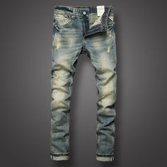 >> Click to Buy << Italian Style Fashion Mens Jeans Retro Design Slim Fit Denim Ripped Jeans Mens Pants Brand Clothing Nostalgia Color Biker Jeans #Affiliate