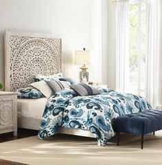 Beautiful and bold patterns do wonders for updating a room. Transform your bedroom with new bedding this season. An ikat and paisley design combine to create the visually beautiful pattern. This 200 thread count cotton bedding set is machine-washable. Available at Home Decorators Collection.