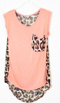 leopard patchwork high-low sleeveless pink blouse