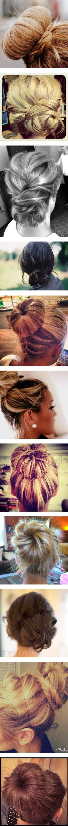 We can't resist buns as our go-to hairstyle for all occasions - formal or not! #hairstyles #homecoming2013 Bun Hairstyles, Pretty Hairstyles, Hairstyle Ideas, Medium Hairstyles, Short Haircuts, Wedding Hairstyle, Bun Styles, Long Hair Styles, Great Hair
