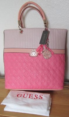 GUESS Marciano Pink Multi WATERMELON MERCI Large Tote Purse NWT & Dust Bag