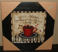 Coffee Cup Framed Art Picture Wall Plaque Java Cafe Kitchen Decor Red Jewels New
