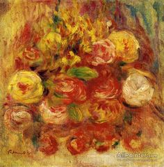 Pierre Auguste Renoir Flowers In A Vase With Blue Decoration oil painting reproductions for sale