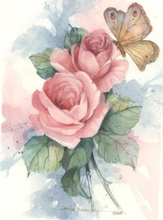 Butterfly with Roses 5x7 watercolor | CShoresInc - Painting on ArtFire