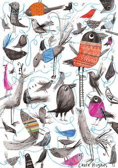 littlechien:    littlechien via carnetimaginaire  carnetimaginaire:    Laura Hughes, Birds and Wool