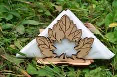 Wooden napkin hoder in shape of maple leaf by WoodenTreasury