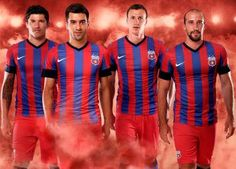 Steaua Bucharest Nike Home Kit Football Shirts, Sports Shirts, Football Fashion, Bucharest, Rugby, My Images, Wetsuit, Red And Blue, Sportswear