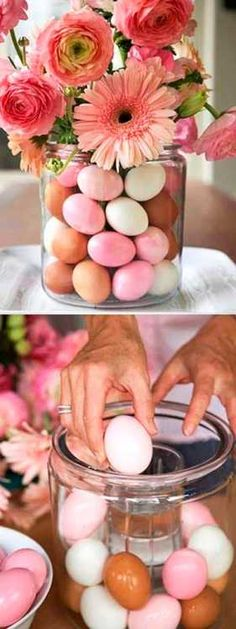 easter eggs and flowers table centerpiece idea