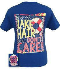 48365c216 Girlie Girl Originals Lake Hair And Don't Care Summer Blue Bright T Sh