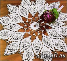 "Crochet Knitting Handicraft: KNITTED CROCHET DOILY - ""DELICATE PETALS"""