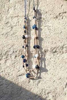 Wooden necklace TRINIDAD ACACIA | Blue palette | Designer jewelry set
