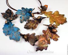 Купить Броши - Дубовая роща - разноцветный, патина, Медь ручной работы, дуб дубовые брошки