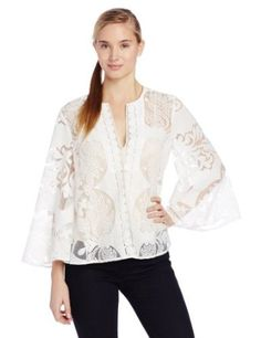 BCBGMAXAZRIA Women's Milou Lace Cape Top with Bell Sleeves, White, Large