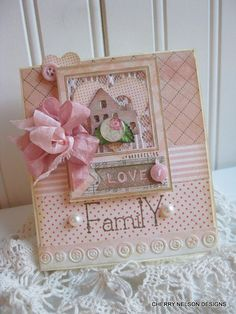 shabby chic card- heart and home- family LOVE handmade card